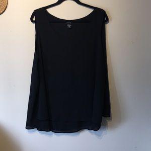 Torrid black sleeveless x2 blouse.